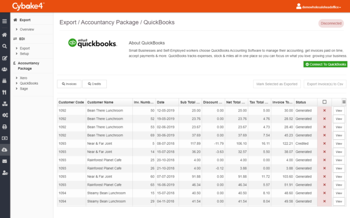 Quickbooks integration - bakery scheduling software