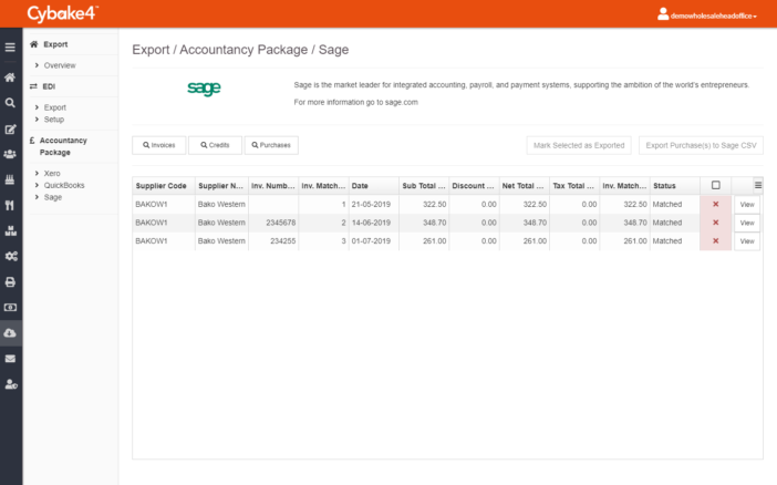 Sage integration - bakery management software