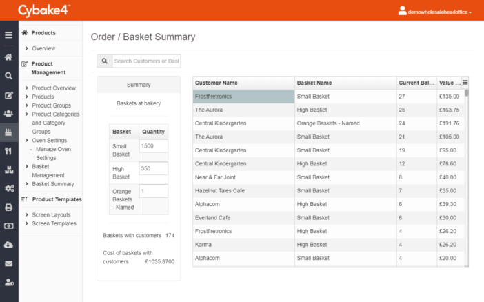 Use our bakery management software for baskets reports