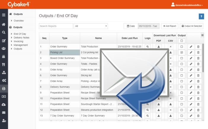 Email production reports with Cybake bakery software